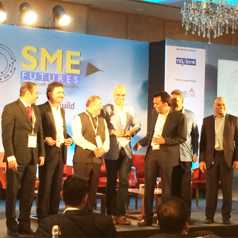 """RamaKrishna LN, MD & CEO of Bodhtree addressing the session """"MAKING THE JOURNEY FROM $1 MN TO $100 MN MARK: MAKE IN INDIA & THE COMPETITIVENESS OF SMES IN A GLOBALIZED ECONOMY"""" at SME Event, Hyderabad."""